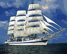 NoNo DIY Digitale Malerei Weißes Segelbootadult