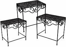 Noor Pflanztisch Set 3 teilig Gartentisch Deko-Tisch dunkel braun rustikal Blumentisch Gärtnertisch