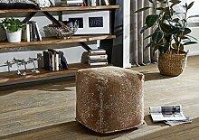 NOOR Pouf Hocker braun 45x45x45cm Vintage Baumwolle