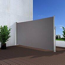 NOOR Seitenmarkise Exklusiv 160x350 cm anthrazit Sichtschutz Terrasse Balkon Sonnenschutz Windschutz