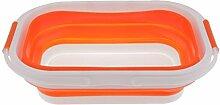 Nopea Silikon Faltkorb Tragbar Einkaufskorb Gemüse Küche Korb Aufbewahrung Gemüse Obst Korb Einkaufskorb Faltbare in 3 verschiedenen Größen Orange