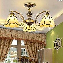 Nordic amerikanische ländliche Landschaft retro Schmiedeeisen Deckenwohnzimmerlampe Tiffany-Lampen Schlafzimmer Beleuchtung Mittelmeer