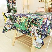 Nordic Pastoral Cotton Scenery Tisch Tuch/Tee Tischdecke-A 140x140cm(55x55inch)