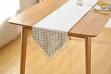 Nordic Simple Fresh Modern Cabinet Flag Tuch Weiche Anzug Hellblau Raster Tuch Tisch Flagge,30*180cm