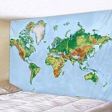 Nordic Stil Grün Welt Karte Wandteppich Hängen