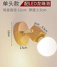 """Nordic Wood LED Spiegel vorne Lampe kreative Bad Bad Wand Lampe moderne einfache hölzerne Kommode Spiegel Schrank Lampe, einzelne Kopf stumm weiß """"mit 5w-LED Dragon Bead Bubble"""