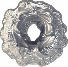 NordicWare Motivbackform 85348, Weihnachtskranz, Aluminium, Silber, 28,6 x 28,6 x 8,3 cm, 1 Einheiten
