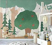 Nordische frische grüne Baum-Wald-Wandbild-Tapete