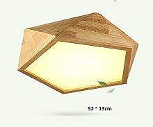 Nordische kreative geometrische Diamant Holz Massivholz Decke FÜHRTE die Studie Lampe Wohnzimmer Schlafzimmer Beleuchtung,52cm