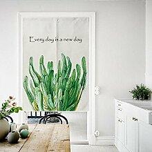 Nordische Pflanze Stoff Türvorhang, Baumwolle Leinen Half Door Curtain Dekorative Partition - Für Hauseingang Dekoration, Schlafzimmer, Wohnzimmer, Zimmer, Küche , 80*90cm , style 5