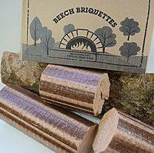 Normandy Briquettes Buchenbriketts, 12 kg, Brennholz für Ofen & Pizzaofen, sehr hohe Temperatur, langbrennendes Pressholz. 100% natürliche Buche, umweltfreundlicher Brennstoff