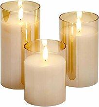 Northpoint LED Echtwachs Kerzen Set flackernd