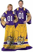 Northwest NCAA LSU Tigers Erwachsene Player Uniform gemütlichen Überwurf Decke mit Ärmeln, 116,8x 180,3cm viole