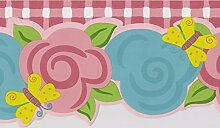 Norwall Rosa Petrol / Blumen gelb Schmetterling