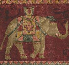 Norwall Roter Teppich mit braunem Elefanten