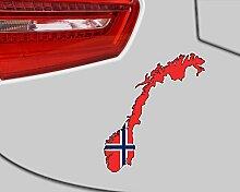 Norwegen Aufkleber Autoaufkleber in Nationalfarben Norge in 9 Größen (34x40cm )