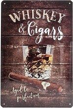 Nostalgic-Art 22257 Open Bar Whiskey, Blechschild, 20 x 30  cm