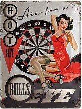 Nostalgic-Art 23177 Open Bar Bulls Eye, Blechschild, 30 x 40 cm