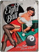 Nostalgic-Art 23196 Open Bar The Eight Ball, Blechschild, 30 x 40 cm