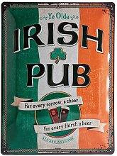 Nostalgic-Art 23226 Open Bar Irish Pub, Blechschild, 30 x 40  cm