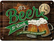 Nostalgic-Art 26214 Open Bar Beer O' Clock Glasses, Blechschild 15 x 20 cm