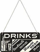 Nostalgic-Art 28010 Open Bar Drinks, Hängeschild, 10 x 20 cm