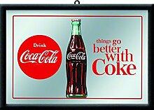 Nostalgic-Art 80716 Bier und Spirituosen Coca-Cola Better mit Coke, Spiegel, 20 x 30 cm