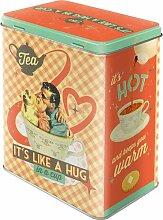 Nostalgic-Art 81884 Say it 50's - Tea It's Like A Hug in A Cup, Vorratsdose L - Special Edition Vorratsdose L, Metall, Bunt, 10 x 14 x 20 cm