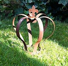 Nostalgic Garden Gartenkrone Dekokrone Gartendeko Edelrost Rostkrone braun gross Metall 29cm Ros