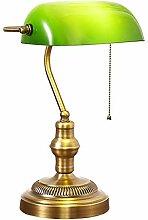 Nostalgie Bankerlampe Grün mit Zugschalter,