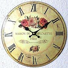Nostalgie Blech Uhr Wanduhr Motiv Rosen