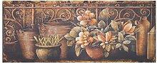 Nostalgie Blechschild Blumen Motiv Vintage Stillleben Wanddeko warmer Farbton