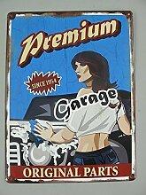 Nostalgie Blechschild, Premium Garage, Auto, Werkstatt Wandschild 40x30