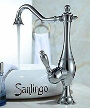 Nostalgie Retro Einhebel Armatur für Waschschale Schüssel Chrom Drehbar Sanlingo