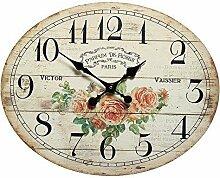 Nostalgie Rosenuhr, Parfum de Roses Paris Victor Vaissier, Wanduhr Rosen
