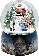 Nostalgie-Schneekugel mit Kindern und Schneemann