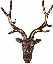 Nostalgisch Harz Kunsthandwerk Hirsch Tier Wandbehang Braun Kreativ Geweih Dekor Wandhaken Hirsch Kleiderbügel Kunst Skulptur