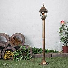 Nostalgische Außen Wegleuchte mit Glas im Tiffany Stil antik rot schwarz / 1,03m hoch E27 230V / Stehleuchte Außenleuchte Außenlampe Weg Garten Wegeleuchte Lampen Wegelampe