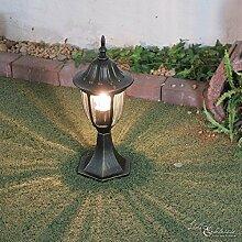 Nostalgische Außenleuchte Sockellampe in antik/E27 bis 60W/IP44 Wetterschutz/Wegeleuchte Weglampe für Außen Garten Hof