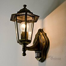 Nostalgische Außenleuchte Wandlampe Paris mit Bewegungsmelder / E27 230V IP44 / Sensor verstellbar Wandleuchte Außenlampe