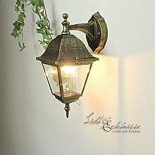 Nostalgische Außenwandleuchte Tirol in antik, abwärts/E27 bis 60W 230V IP44/Außenleuchte Wandlampe für Hof und Garten