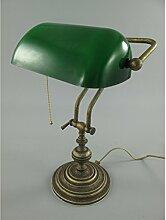 Nostalgische Bankerlampe aus Messing grün Bankers