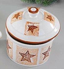 Nostalgische Gebäckdose mit Sternen creme, 19 cm