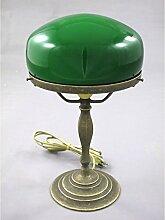 Nostalgische Pilzlampe Bankerlampe Messing grüner
