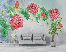 Nostalgische Rose 3D Tapeten -250Cmx180Cm Blumen -