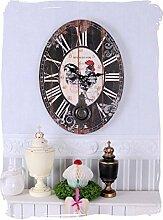 Nostalgische Wanduhr/Küchenuhr/Quarzuhr/Zimmeruhr/Uhr mit tollem Motiv eines Hahns auf einer ovalen Uhrenform mit schwingendem Pendel und zudem im angesagten Antik-Stil - Palazzo Exclusive