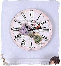 Nostalgische Wanduhr/Küchenuhr/Quarzuhr/Zimmeruhr/Uhr mit wunderschönem , französischem Motiv von Lavendel und Küchenkräutern auf einer runden Uhrenform mit Quarzuhrwerk und zudem im angesagten Landhausstil - Palazzo Exclusive