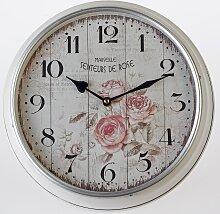 Nostalgische Wanduhr Rose rund 31 cm