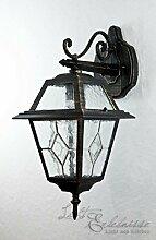 Nostalgische Wegeleuchte ?Brest? in antik gold / 1m hoch, E27 bis 60W 230V / Außenleuchte Stehlampe mit IP44 Weglampe