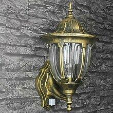 Nostalgische XXL Aussenwandleuchte mit Bewegungsmelder Sensor in Antik Gold mit E27 Fassung IP43 rustikal große Aussenleuchte Wandlampe